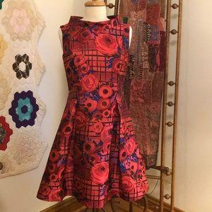 Sara Campbell Jacquard Rose Print Dress